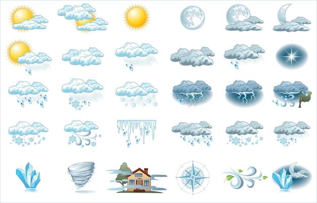 밝은 배경으로 일기 예보 아이콘입니다. 인포 그래픽을위한 날씨 아이콘 프리미엄 벡터