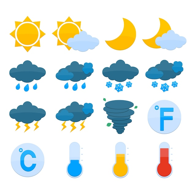 Weather forecast symbols color icons set of sun\ cloud rain snow isolated vector illustration