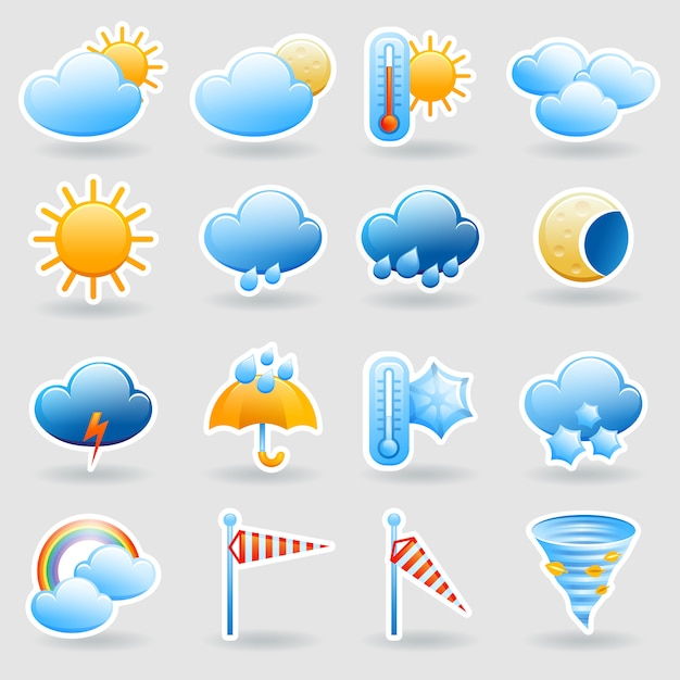 Weather forecast tablet mobile symbols widget icons set with clouds and rainbow Free Vector