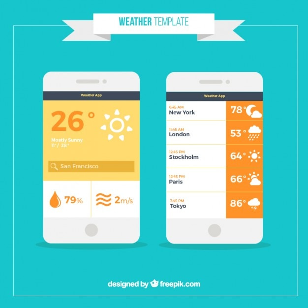 weather forecast template in flat design vector premium download
