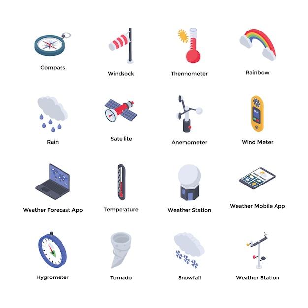 Weather forecaster icons Premium Vector