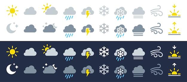 날씨 아이콘을 설정합니다. 흰색 및 어두운 배경의 평면 기호 프리미엄 벡터