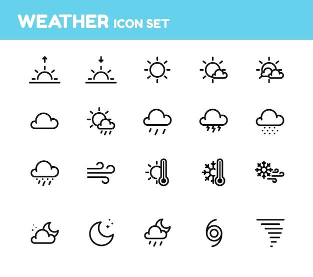 Weather icon set Premium Vector
