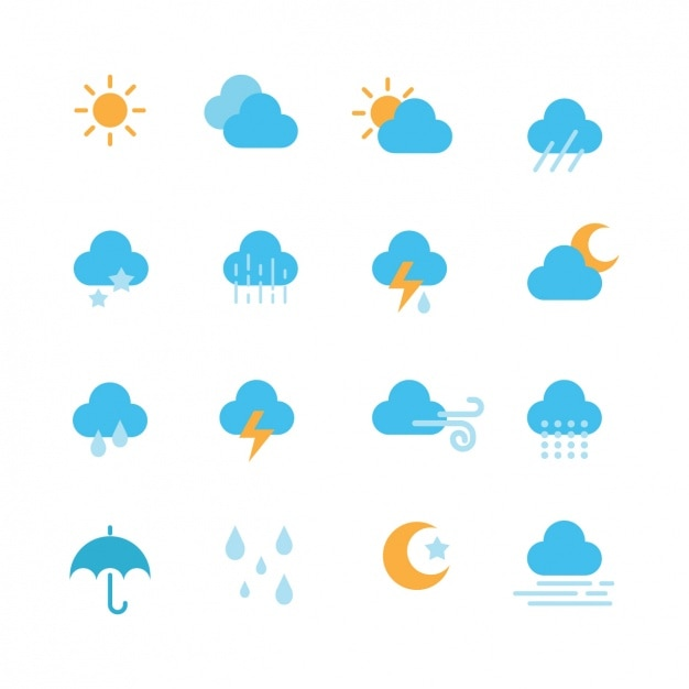 Weather icons collection Free Vector