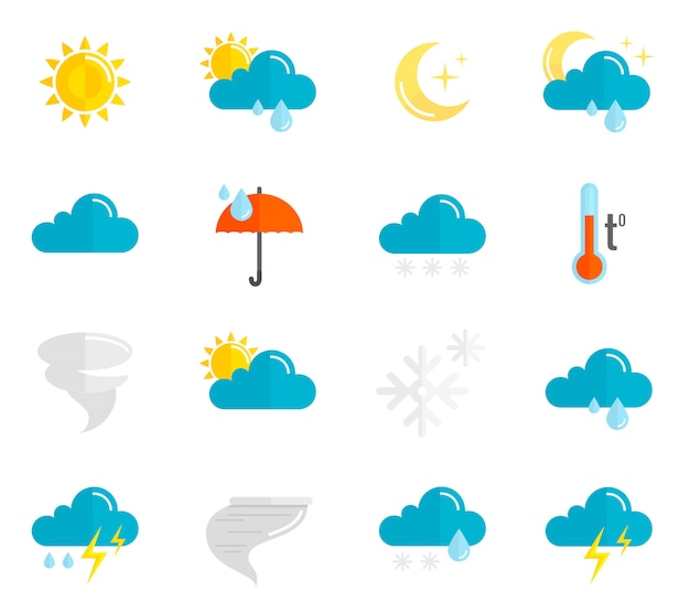 Weather icons flat set Free Vector