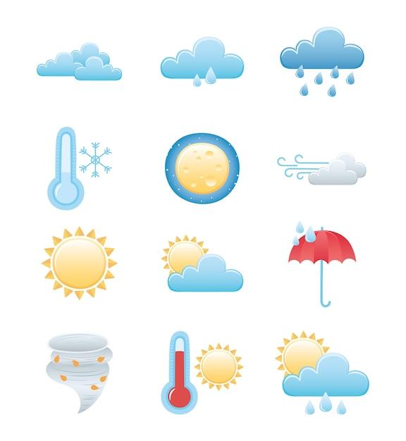 날씨 아이콘 설정, 비오는 겨울 여름 태양 밤 달 구름 태양 뜨겁고 차가운 프리미엄 벡터