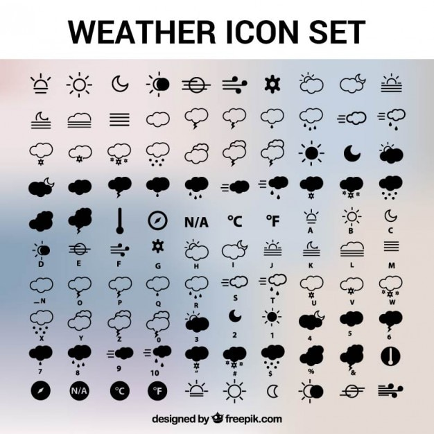 Weather icons set Free Vector