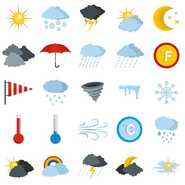 Weather icons set Premium Vector