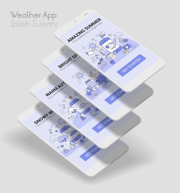 Weather line illustration splash app screen mobile mockup Vector