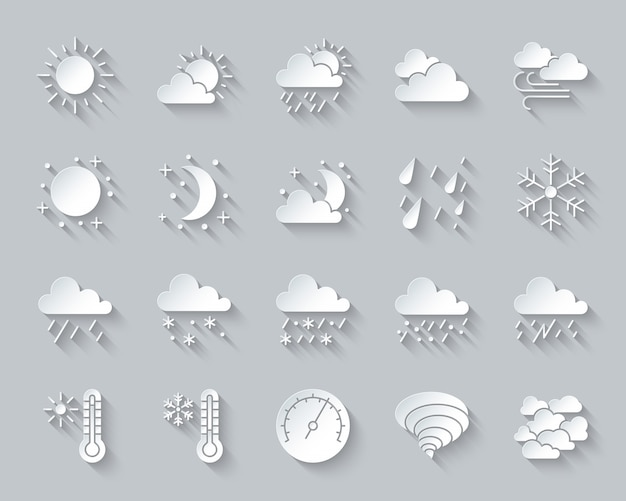 Weather, meteorology, climate icon set includes sun, cloud, snow, rain, paper cut, material design. Premium Vector