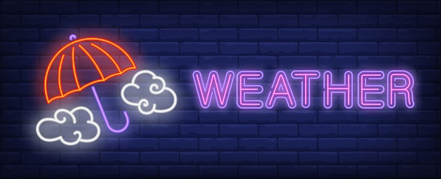 Weather neon text with umbrella and clouds Free Vector