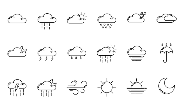 Weather outline icons Premium Vector
