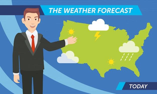 今日の天気予報を発表 Premiumベクター