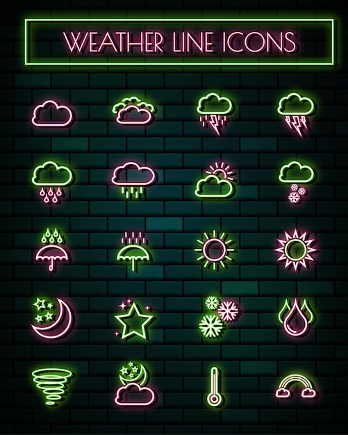 Weather sign thin neon glowing line icons set. Premium Vector