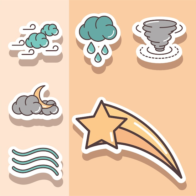 Weather stickers icons shooting star cloud hurricane moon night illustration line and fill Premium Vector