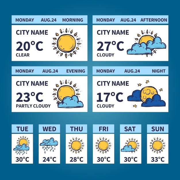 Weather widget sketch Vector   Free Download