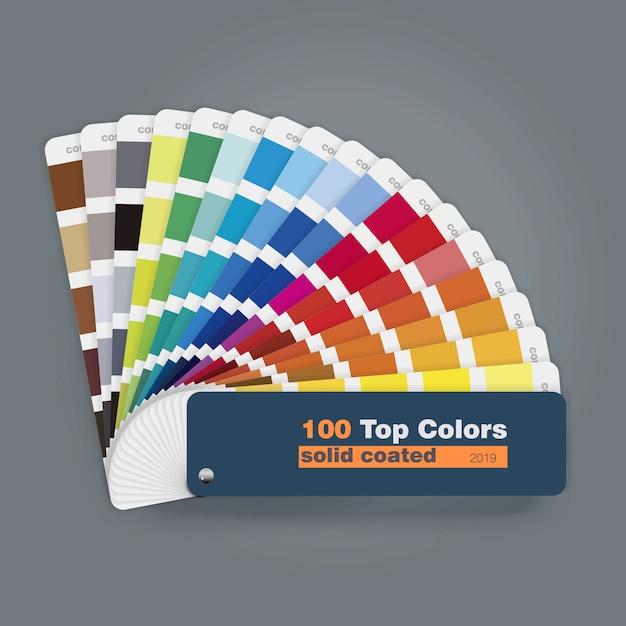 印刷webデザインの使用法のための100のトップカラーパレットガイドの図 Premiumベクター