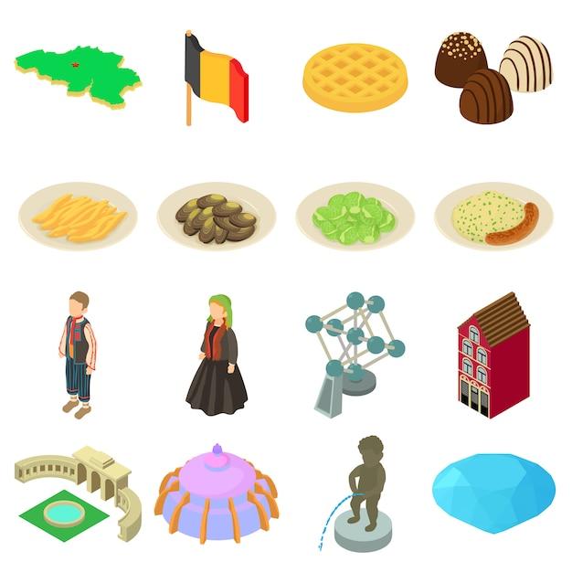 ドイツ旅行のアイコンを設定します。 webの16ドイツ旅行ベクトルアイコンの等角投影図 Premiumベクター