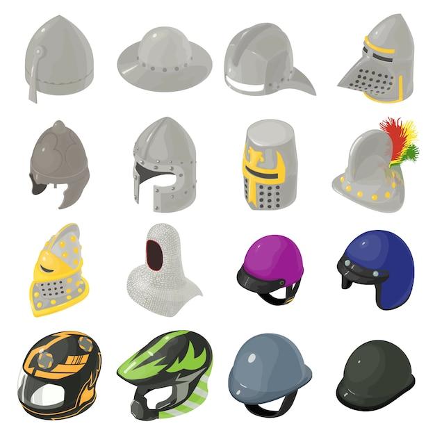 ヘルメット帽子のアイコンを設定します。 webの16のヘルメット帽子ベクトルアイコンの等角投影図 Premiumベクター