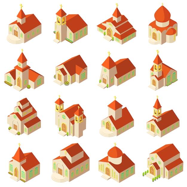 教会の建物の木製のアイコンを設定します。 webのベクトルのアイコンを構築する16の教会の等角投影図 Premiumベクター