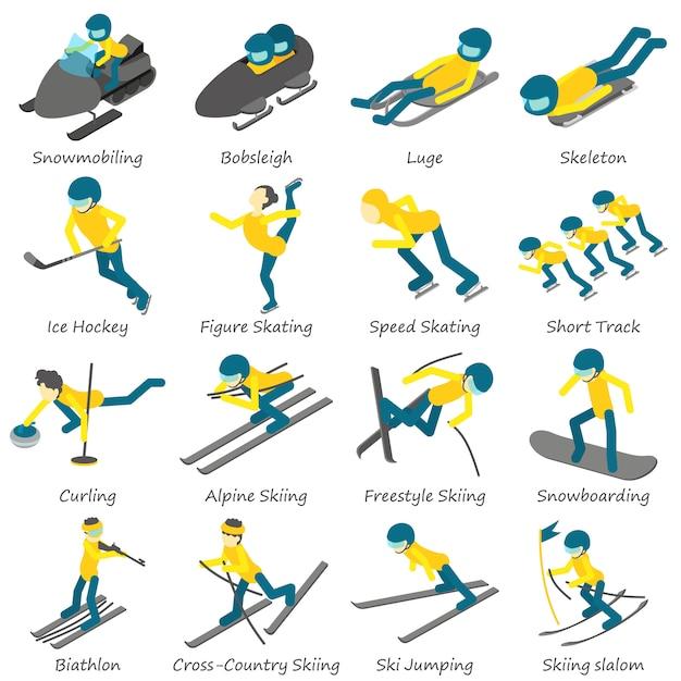 冬スポーツスキースノーボードのアイコンを設定します。 webの16の冬スポーツスキースノーボードベクトルアイコンの等角投影図 Premiumベクター