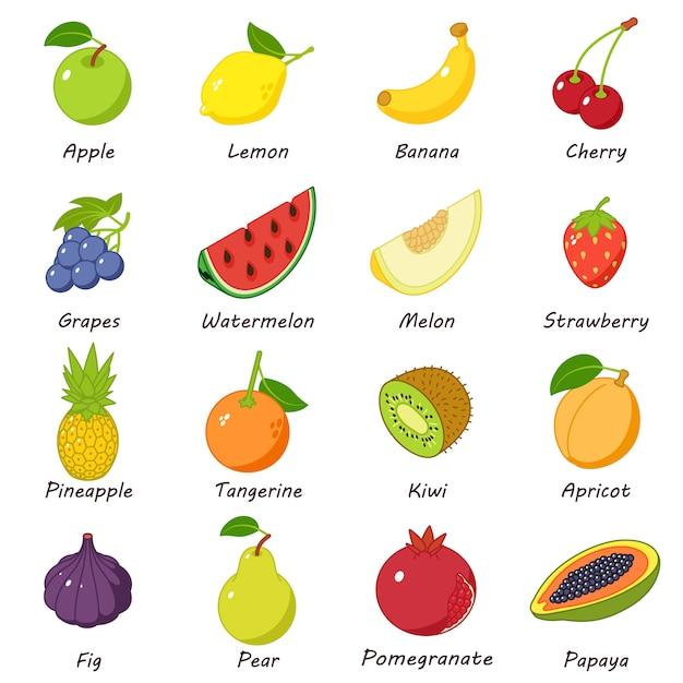 フルーツフードのアイコンを設定します。 webの16の果物食品ベクトルアイコンの等角投影図 Premiumベクター