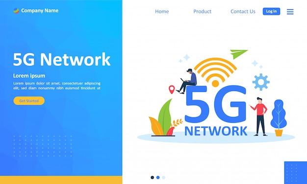 Webランディングページ用5gネットワークインターネットモバイルワイヤレス Premiumベクター