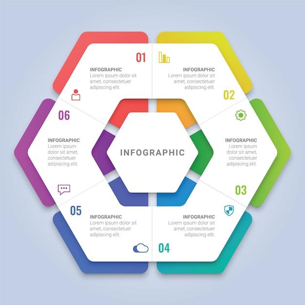ワークフローのレイアウト、図、年次報告書、webデザインのための6つのオプションを持つ抽象的な3 d六角形インフォグラフィックテンプレート Premiumベクター