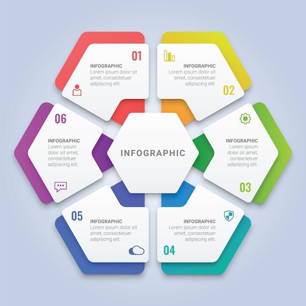 ワークフローのレイアウト、図、年次報告書、webデザインのための6つのオプションを備えたモダンな3 dインフォグラフィック六角形テンプレート Premiumベクター