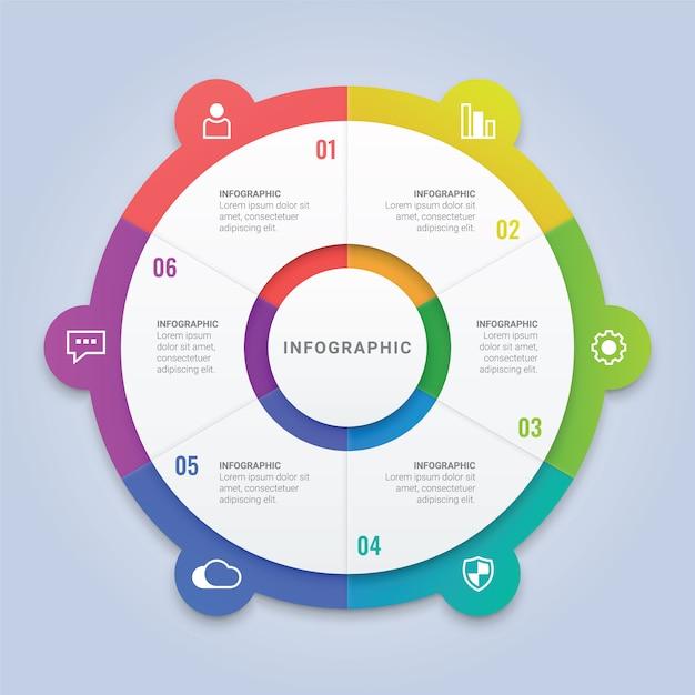ワークフローのレイアウト、図、年次報告書、webデザインのための6つのオプションを持つビジネスインフォグラフィックサークルテンプレート Premiumベクター