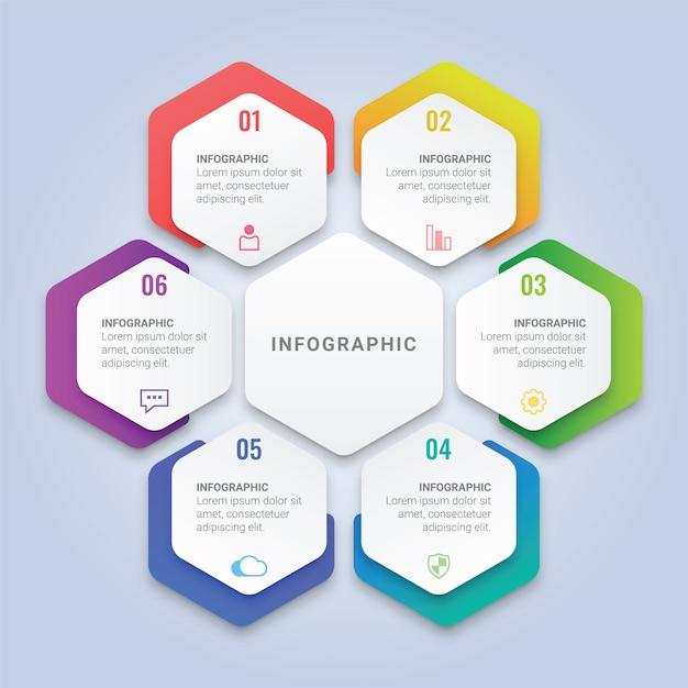 ワークフローのレイアウト、図、年次報告書、webデザインのための6つのオプションを持つ六角形のインフォグラフィックテンプレート Premiumベクター