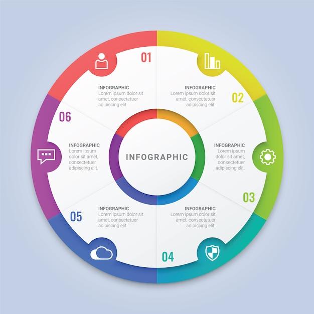 ワークフローのレイアウト、図、年次報告書、webデザインのための6つのオプションを持つモダンなインフォグラフィックサークルテンプレート Premiumベクター