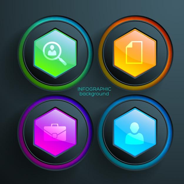 ビジネスアイコンカラフルな光沢のある六角形と円でweb抽象的なインフォグラフィック 無料ベクター
