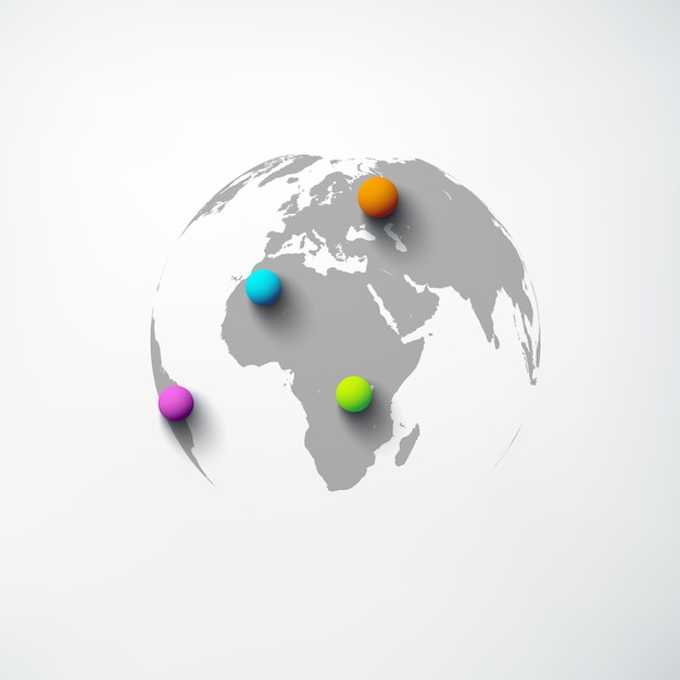 地球儀と白の分離されたカラフルな丸いピンとweb抽象世界テンプレート 無料ベクター