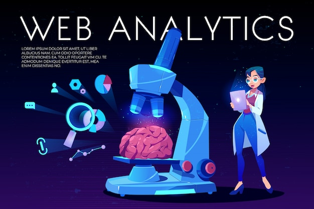 Web analytics background brain and seo icons Free Vector