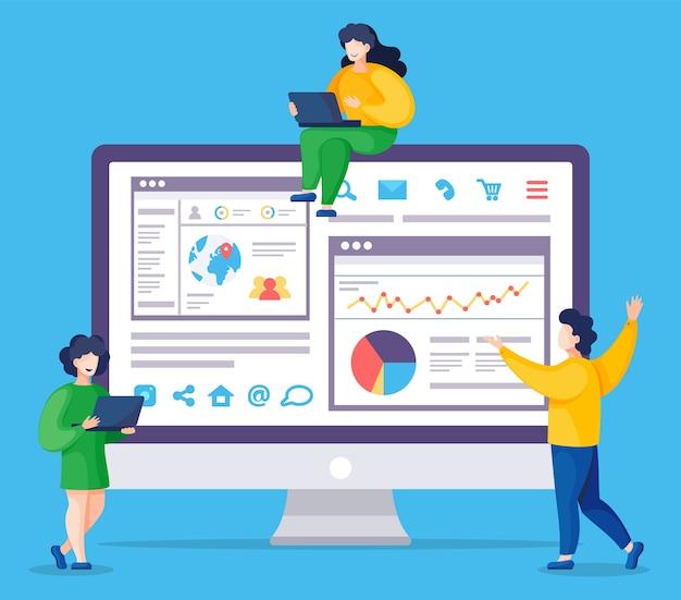 웹 분석 정보 및 개발 웹 사이트 통계. 웹 Cms 분석 측정, 제품 테스트 기술, 빅 데이터 분석. 대시 보드 사이트 Seo 최적화. 디지털 마케팅 보고서, 플랫 프리미엄 벡터