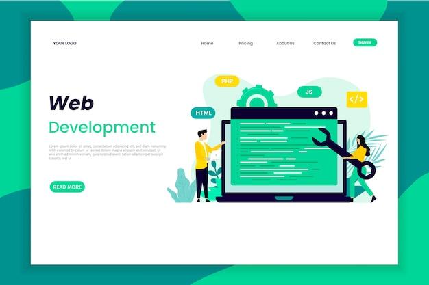 Web app development landing page Premium Vector