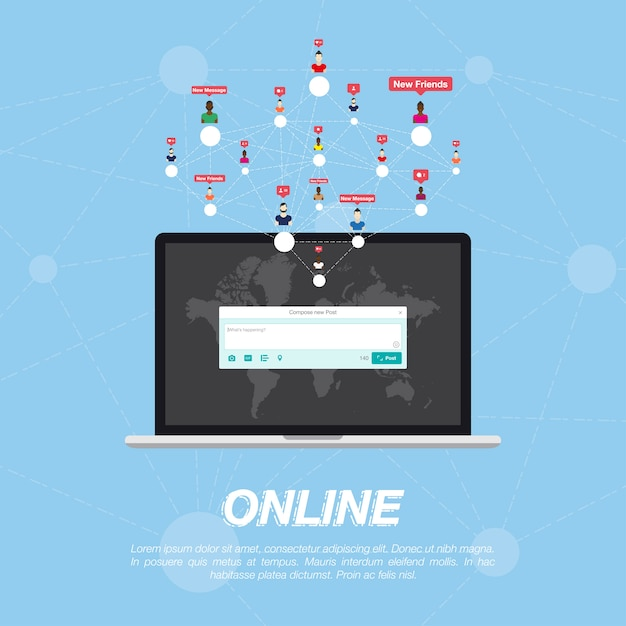 Web application on laptop and icon for social network. Premium Vector