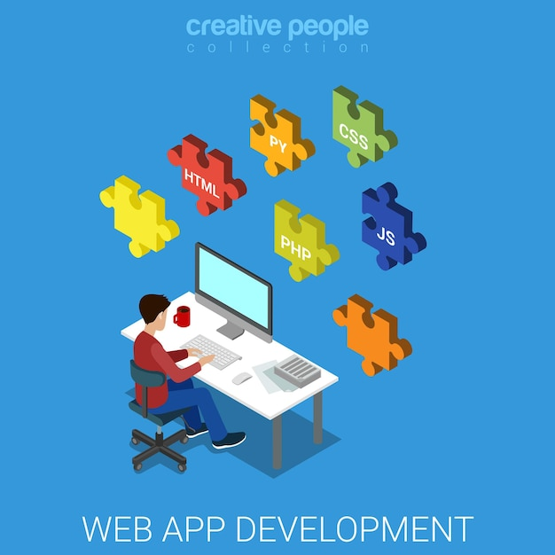 Web application software frontend backend database development code programming. Premium Vector