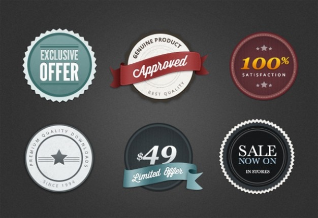 Web badges and elements Free Vector