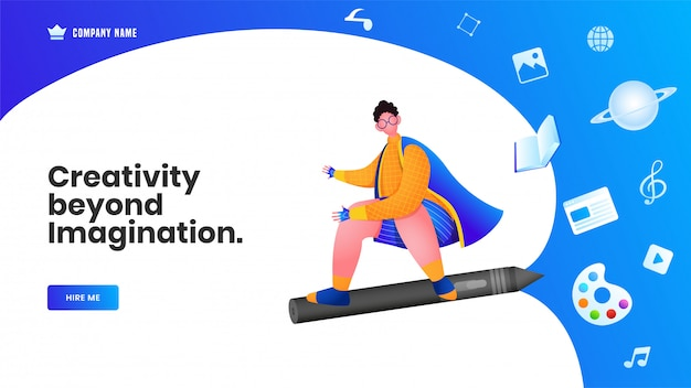 Web banner or landing page design, beyond imagination of flying man from pencil with book, color palette, music note Premium Vector