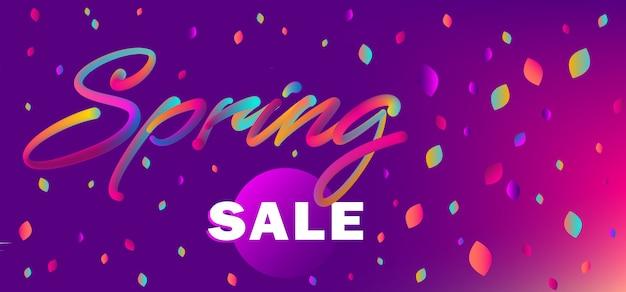 Web banner for spring sale shopping Premium Vector