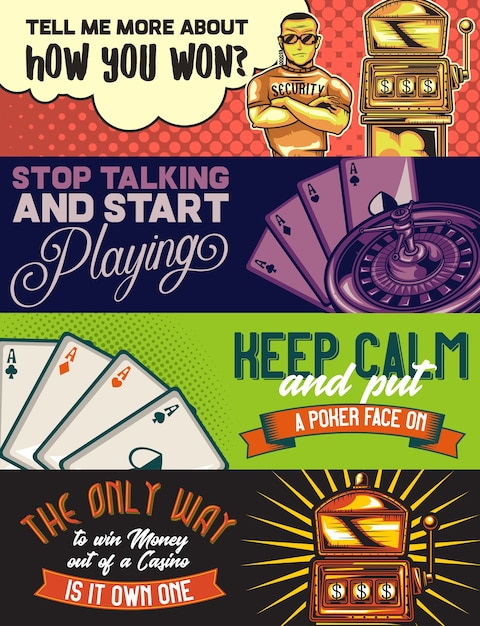 Web banner template with illustrations of a policeman, a casino, pocker cards and slot machine. Free Vector