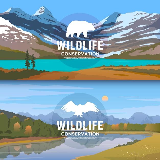Веб-баннеры на темы диких животных америки, выживания в дикой природе, охоты, кемпинга, поездки. горный фонарь. охрана дикой природы. Premium векторы
