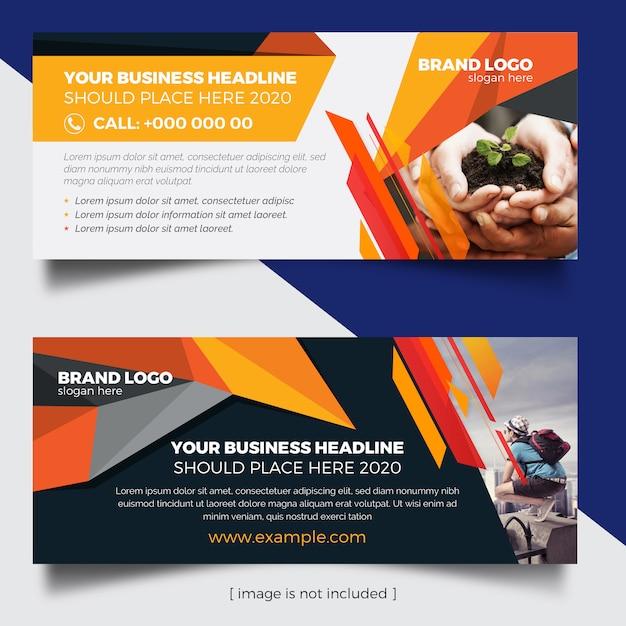 Веб-баннеры с оранжевыми и темными элементами Premium векторы