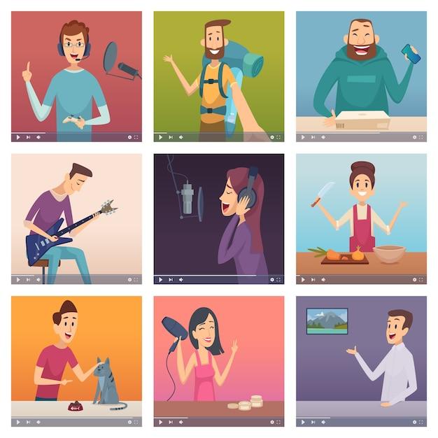 Веб-блоггеры. влиятельные люди, занимающиеся развлечениями, создают онлайн-проекты с цифровым контентом, обучая кулинарии пению персонажей-красоток. иллюстрация онлайн в интернете блог в социальных сетях Premium векторы