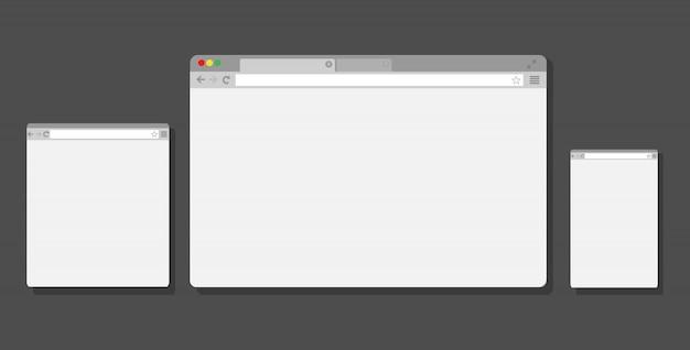노트북, 태블릿 및 스마트 폰을위한 웹 브라우저 창. . 프리미엄 벡터