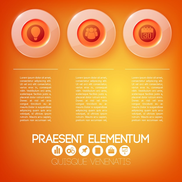 テキスト3つの赤いガラスの丸いボタンとアイコンとwebビジネスインフォグラフィックの概念 無料ベクター