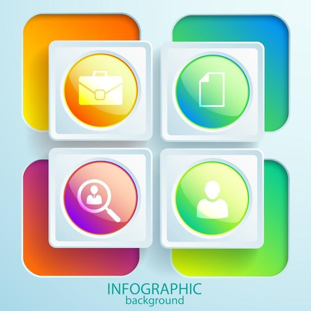 光沢のあるボタンとカラフルな正方形のフレームの丸いアイコンとwebビジネスのインフォグラフィック要素 無料ベクター