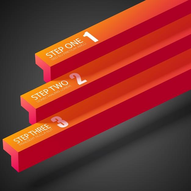 Веб-бизнес-инфографика с оранжевыми прямыми полосами и тремя шагами на темноте Бесплатные векторы